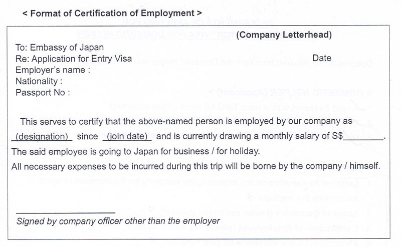 Hassle free door to door japan visa application certification of employment refer to the format here yadclub Images